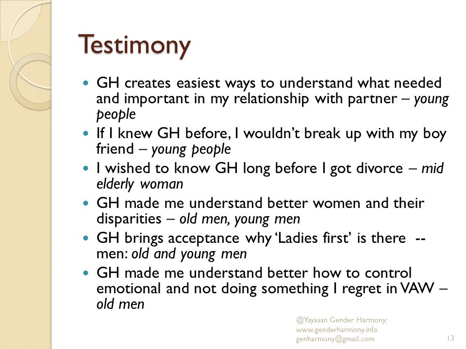 Testimony GH creates easiest ways to understand what needed and important in my relationship with partner – young people.