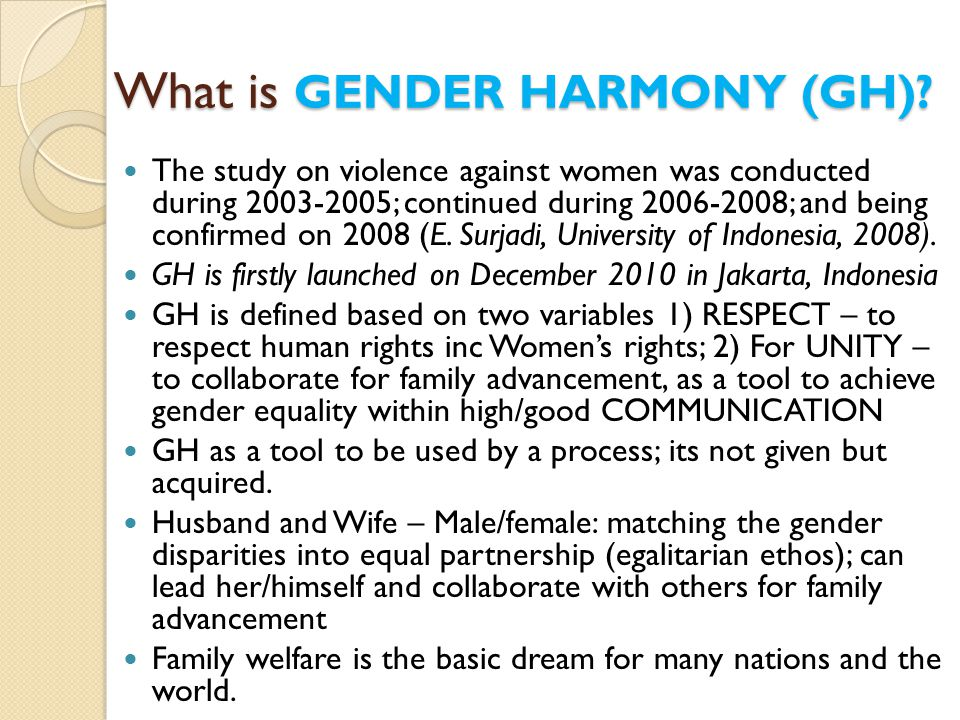 What is GENDER HARMONY (GH)