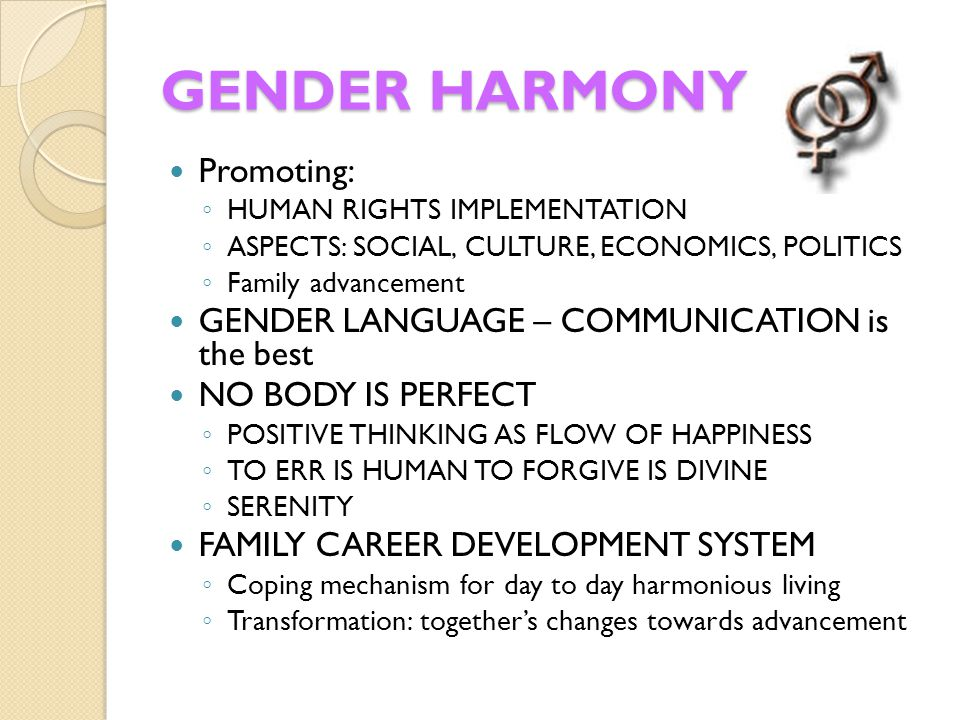GENDER HARMONY Promoting: GENDER LANGUAGE – COMMUNICATION is the best