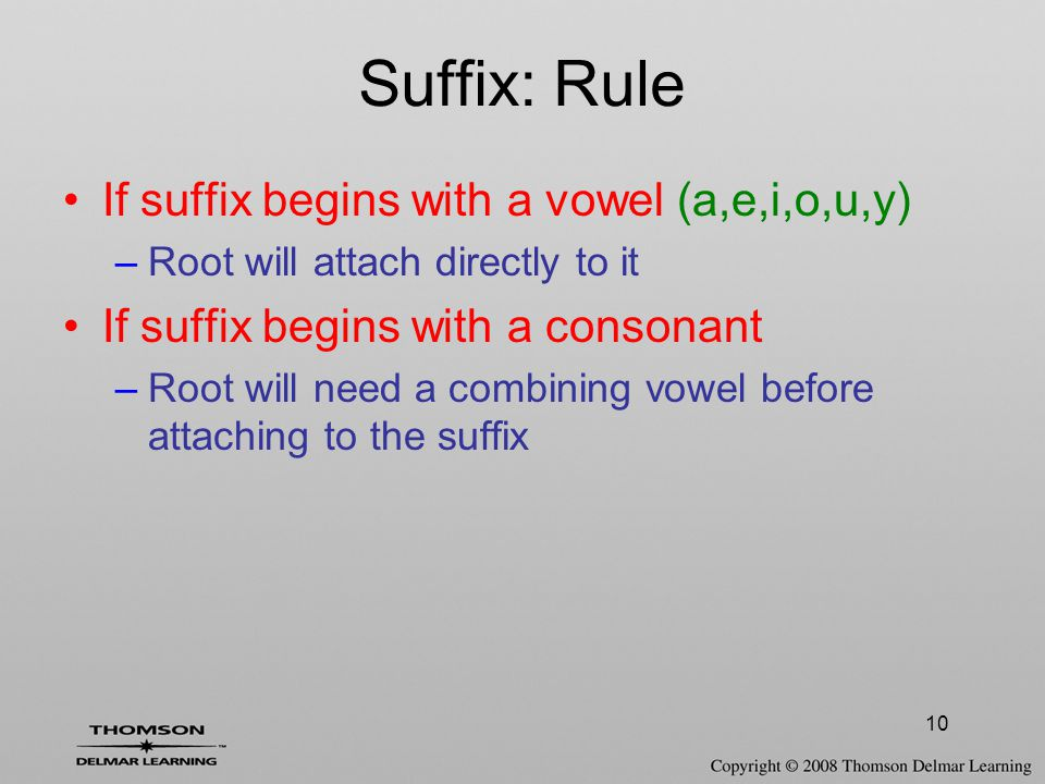 Suffix: Rule If suffix begins with a vowel (a,e,i,o,u,y)