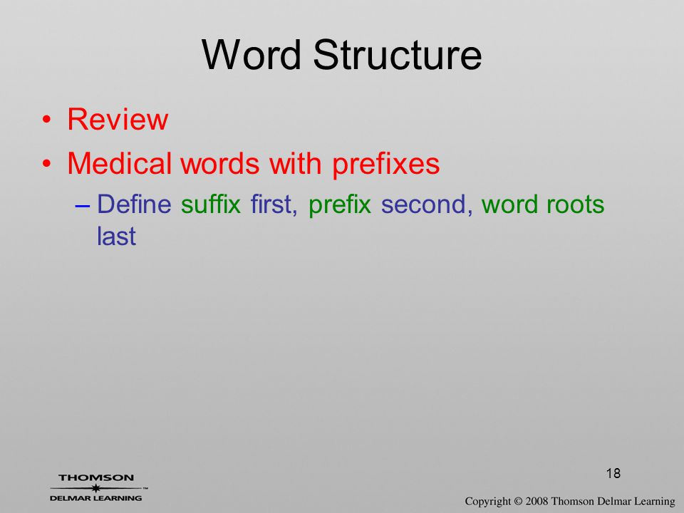 Word Structure Review Medical words with prefixes