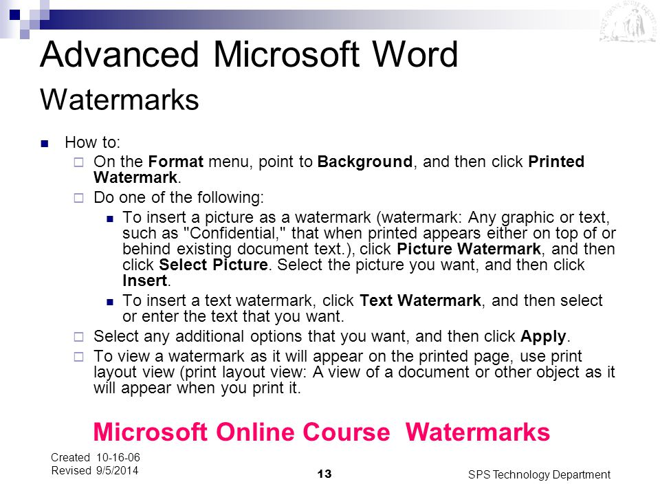 Microsoft Online Course Watermarks