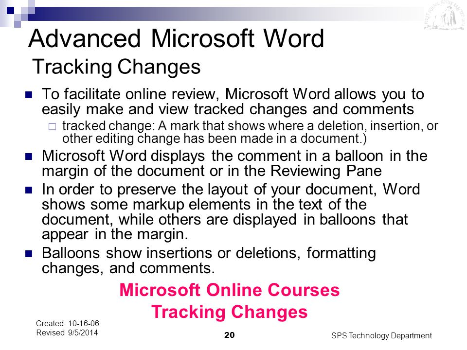Microsoft Online Courses Tracking Changes