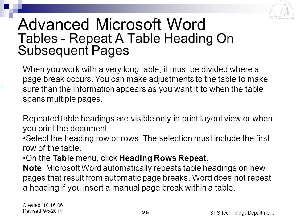 Tables - Repeat A Table Heading On Subsequent Pages