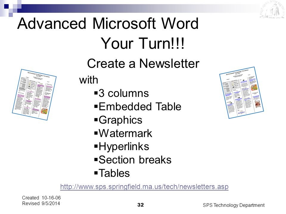 Your Turn!!! Create a Newsletter