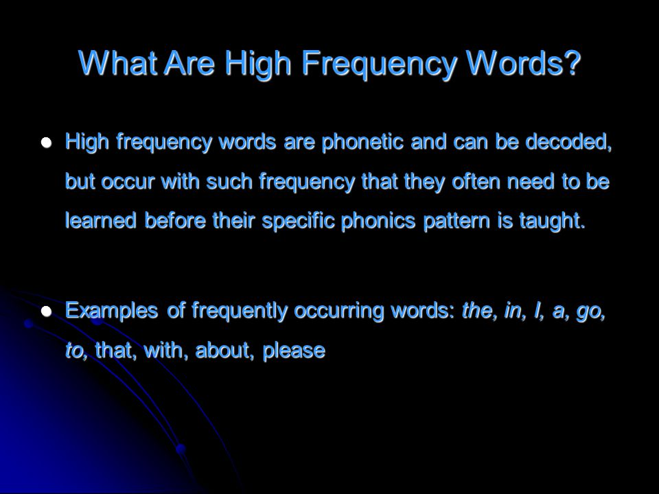 What Are High Frequency Words