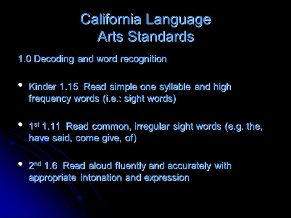 California Language Arts Standards