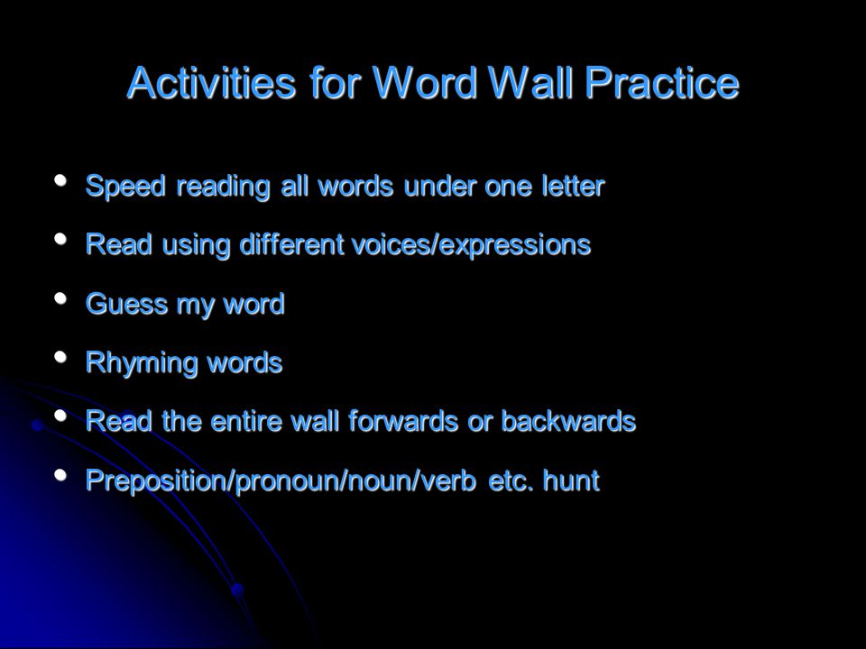 Activities for Word Wall Practice