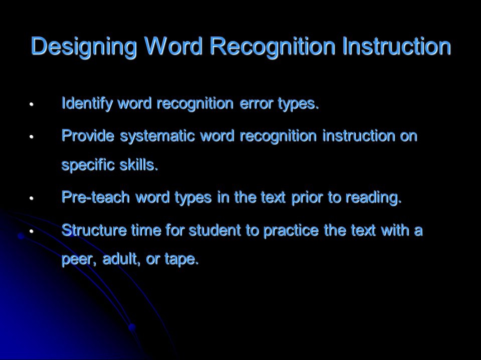 Designing Word Recognition Instruction