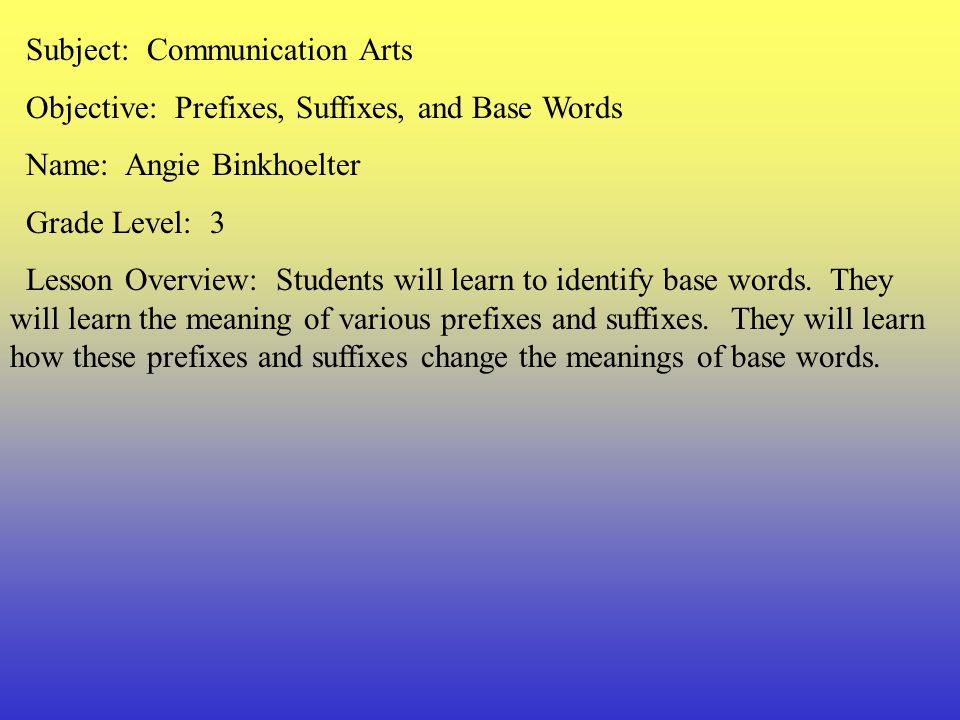 Subject: Communication Arts
