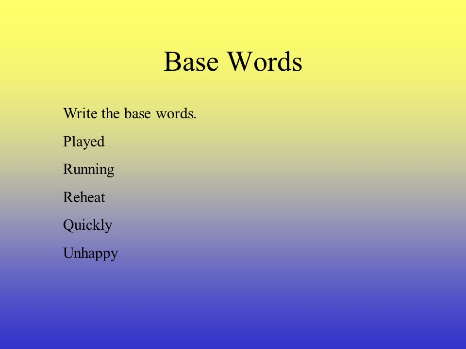 Base Words Write the base words. Played Running Reheat Quickly Unhappy