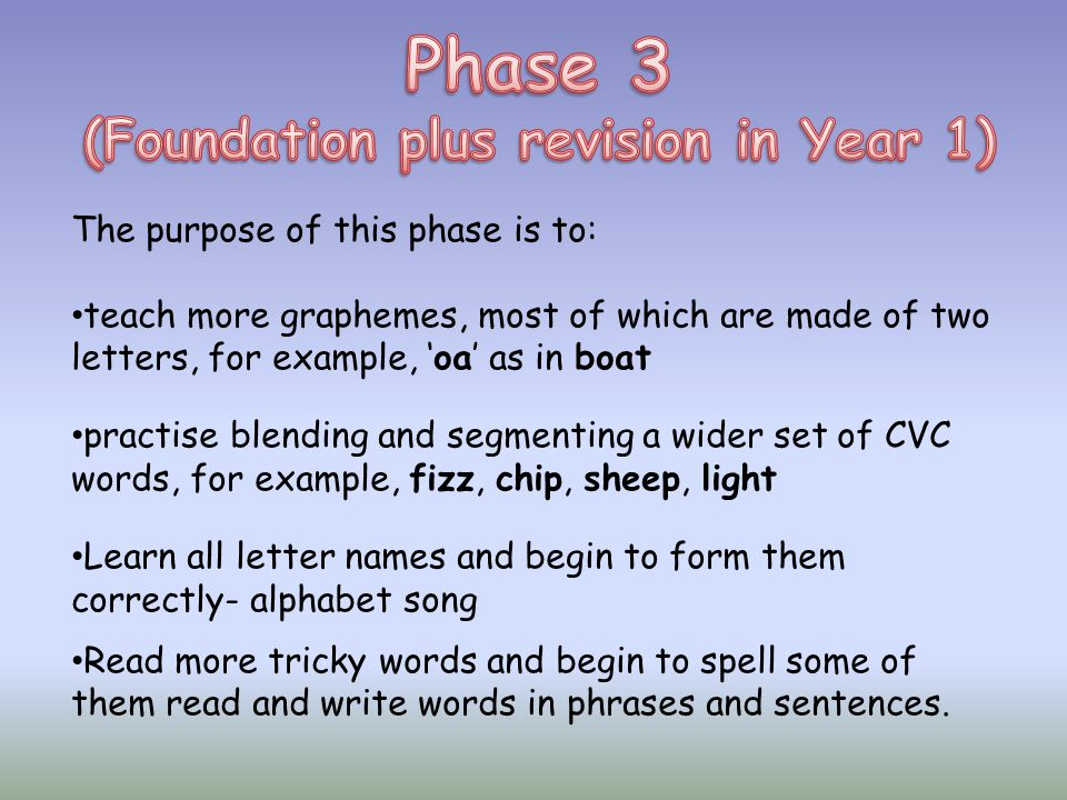 (Foundation plus revision in Year 1)