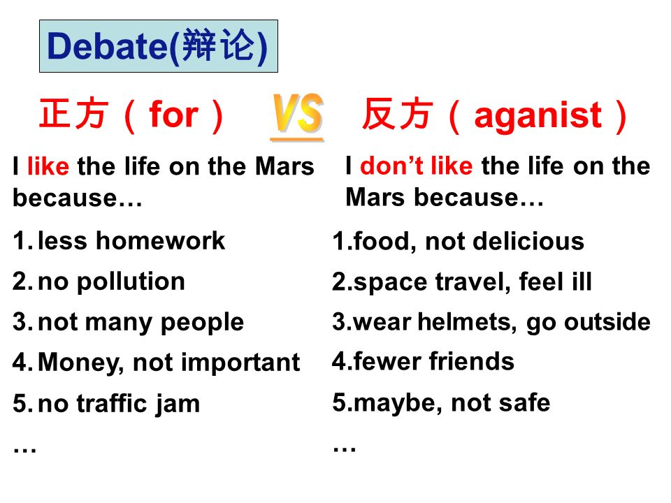 Debate(辩论) 正方(for) 反方(aganist) vs I like the life on the Mars
