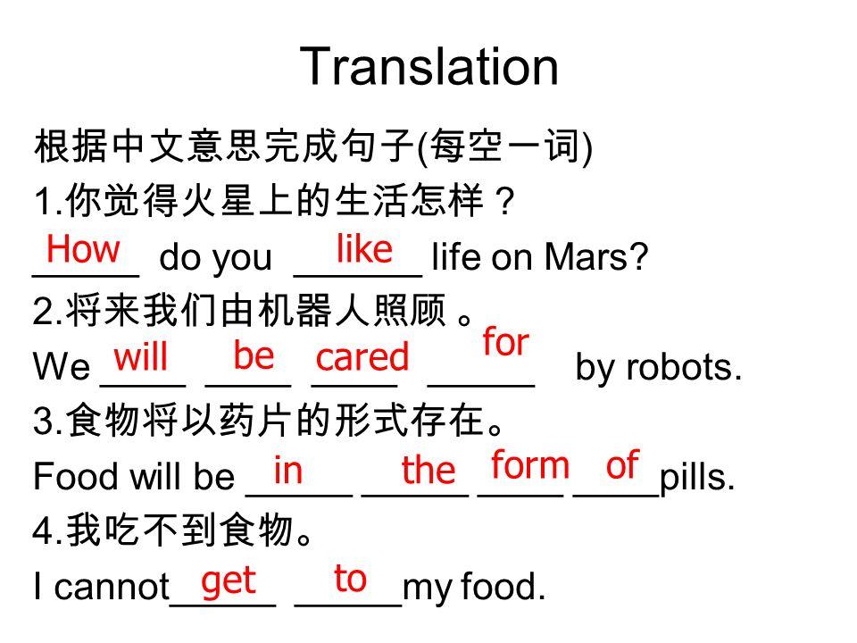 Translation 根据中文意思完成句子(每空一词) 1.你觉得火星上的生活怎样?