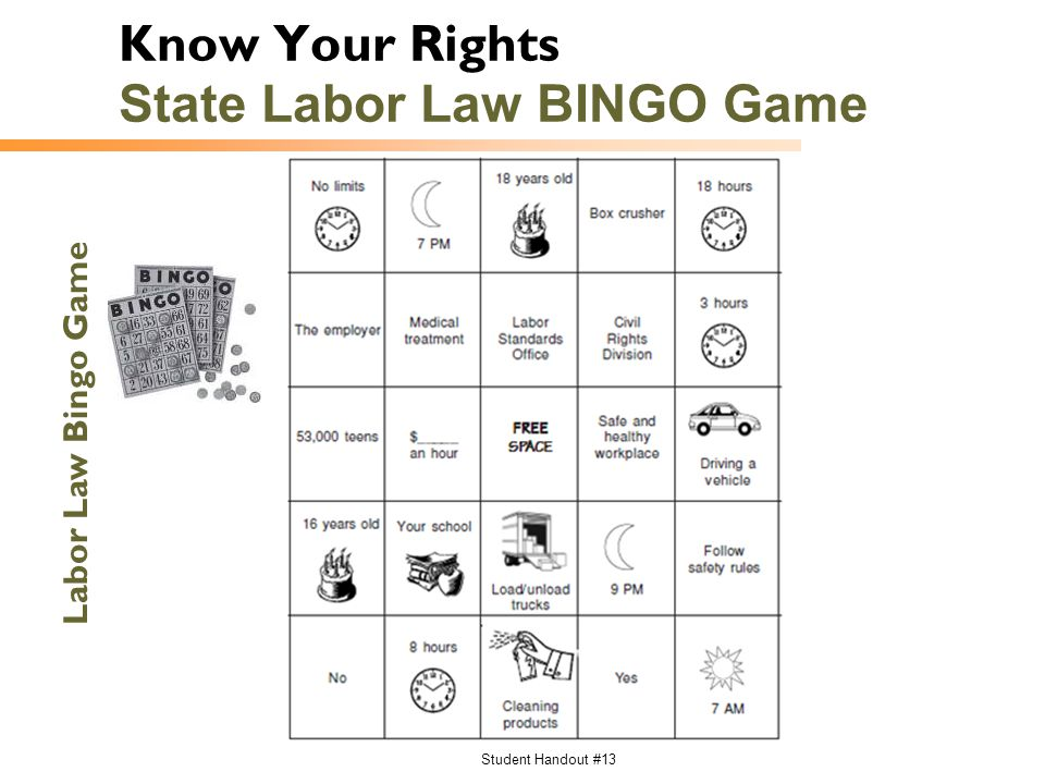 Know Your Rights State Labor Law BINGO Game