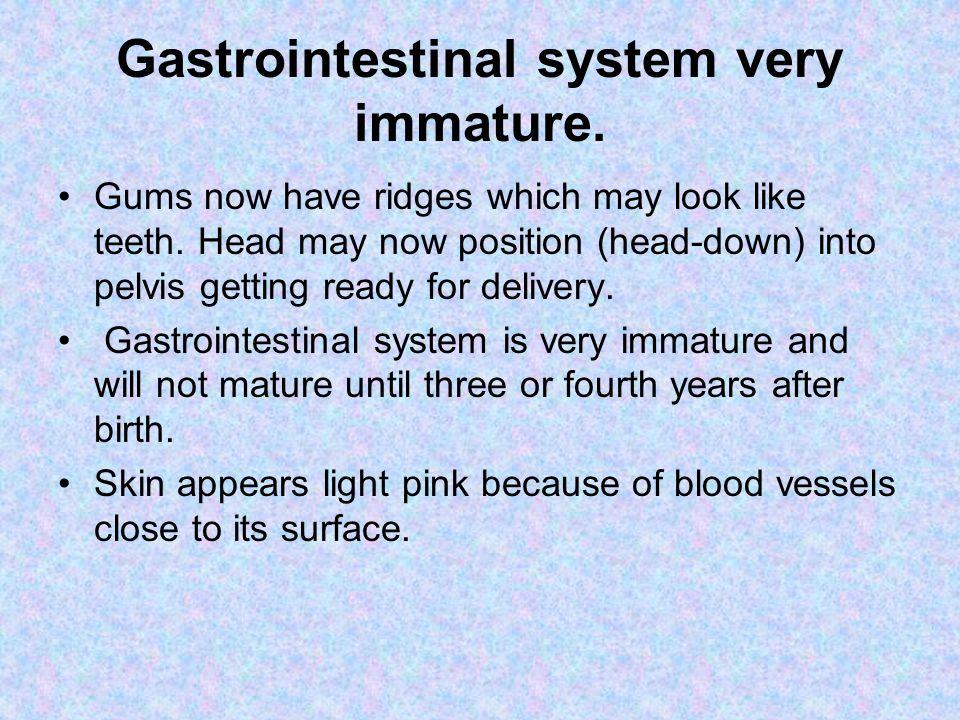Gastrointestinal system very immature.