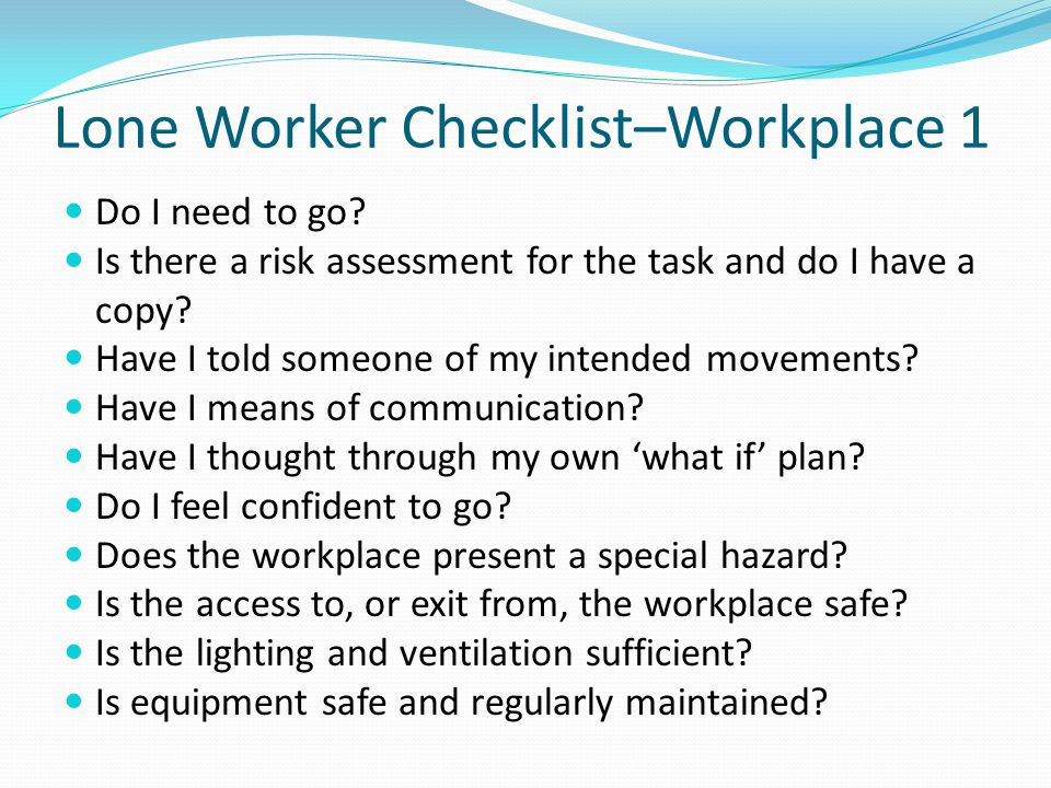 Lone Worker Checklist–Workplace 1