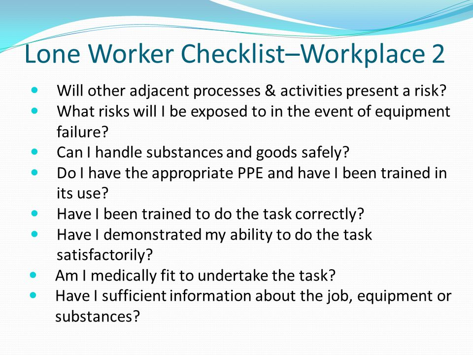 Lone Worker Checklist–Workplace 2