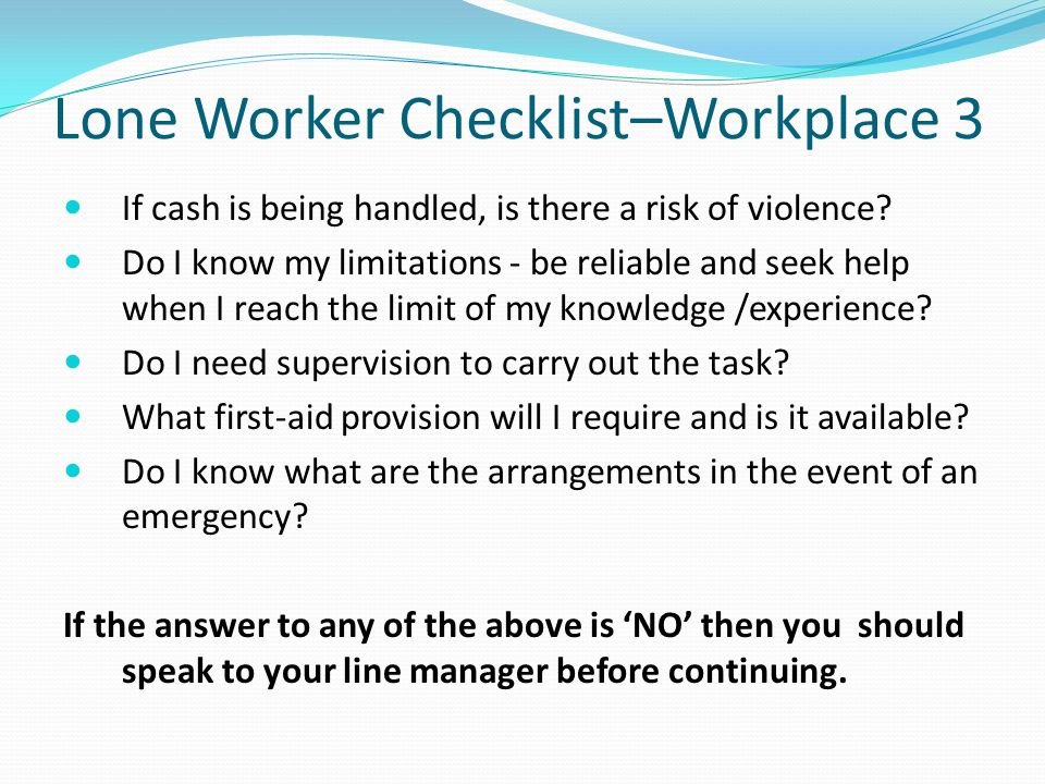 Lone Worker Checklist–Workplace 3