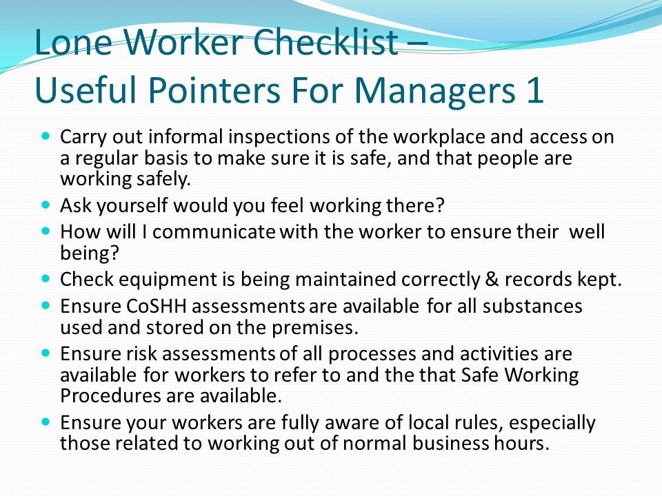 Lone Worker Checklist – Useful Pointers For Managers 1
