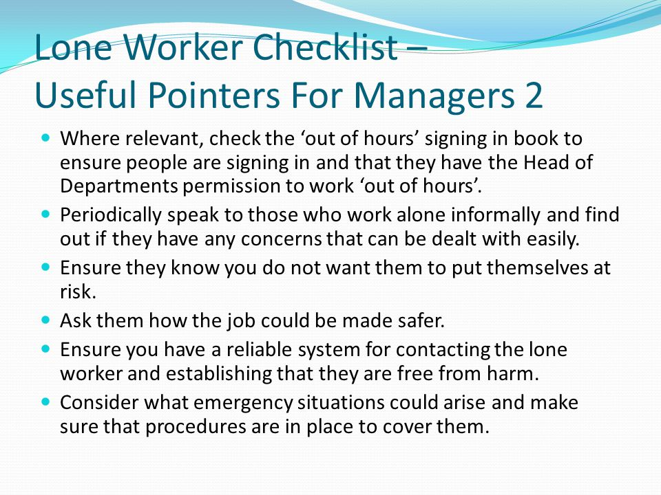 Lone Worker Checklist – Useful Pointers For Managers 2