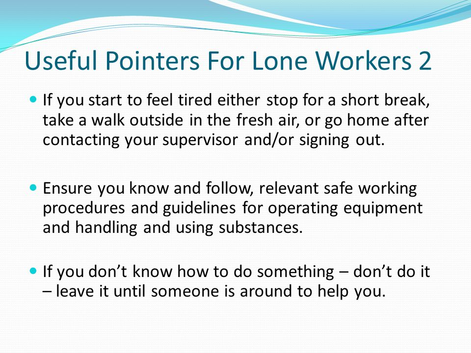 Useful Pointers For Lone Workers 2