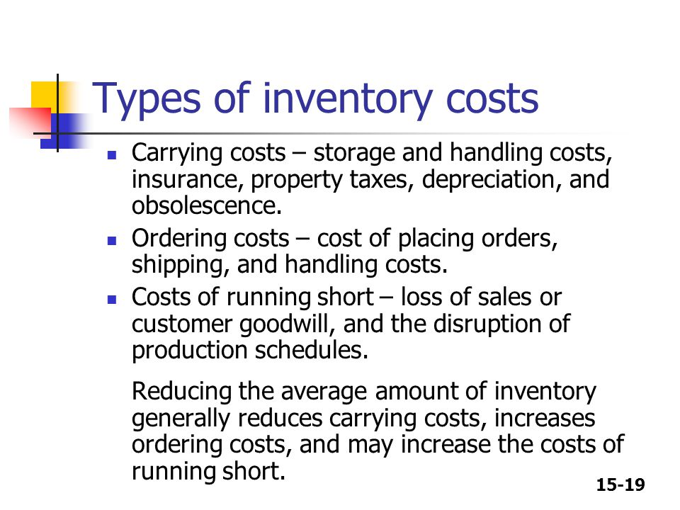 Types of inventory costs