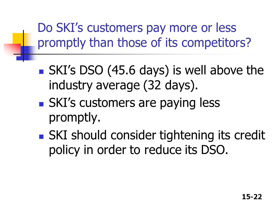 Do SKI's customers pay more or less promptly than those of its competitors