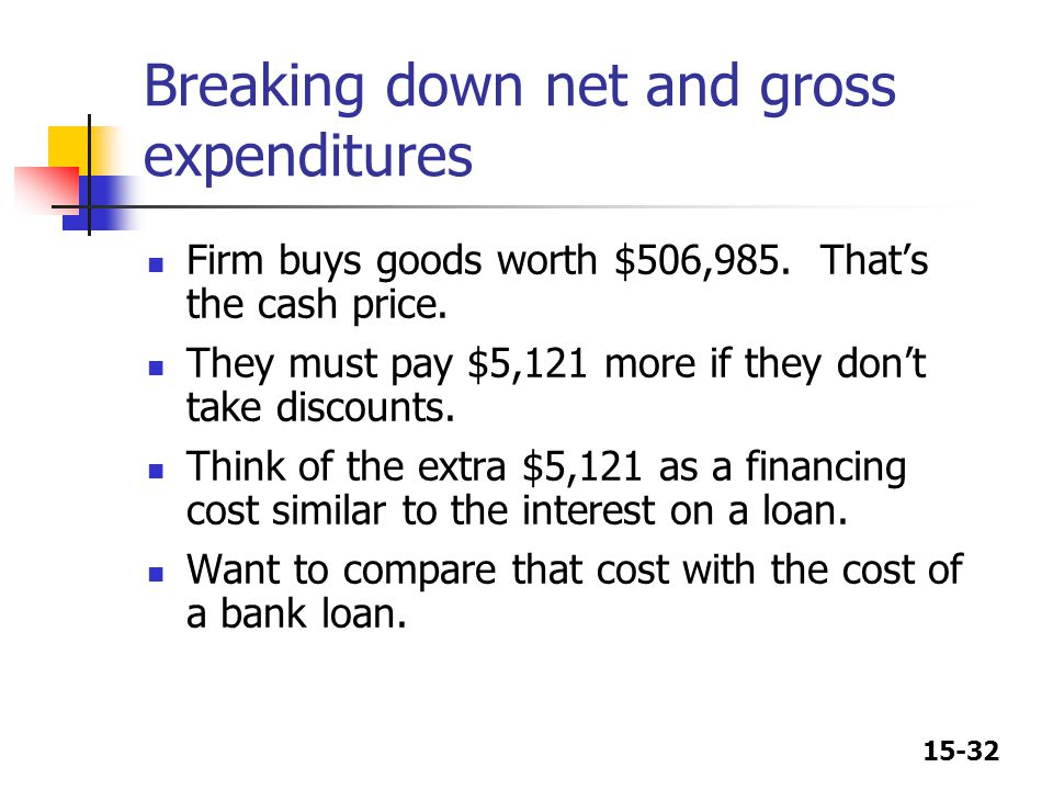 Breaking down net and gross expenditures
