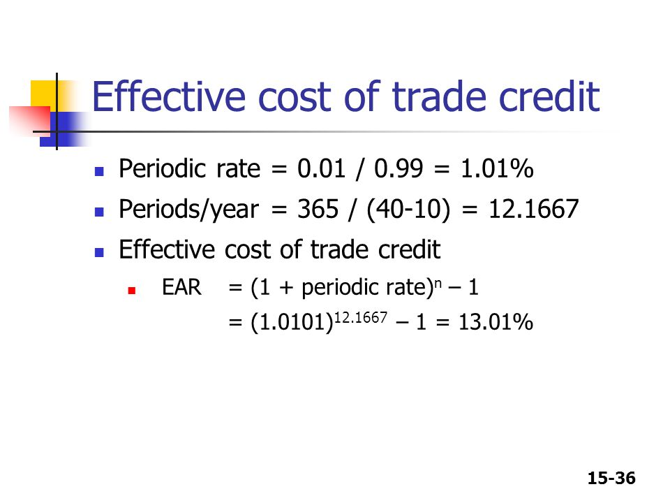 Effective cost of trade credit