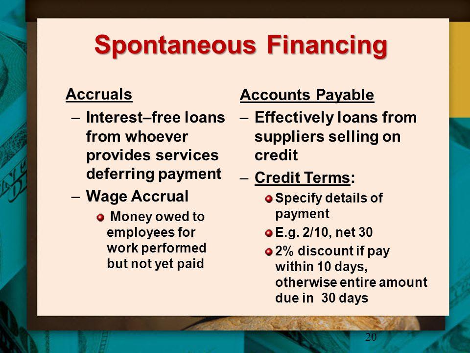 Spontaneous Financing