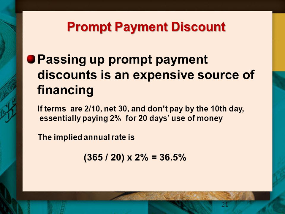 Prompt Payment Discount