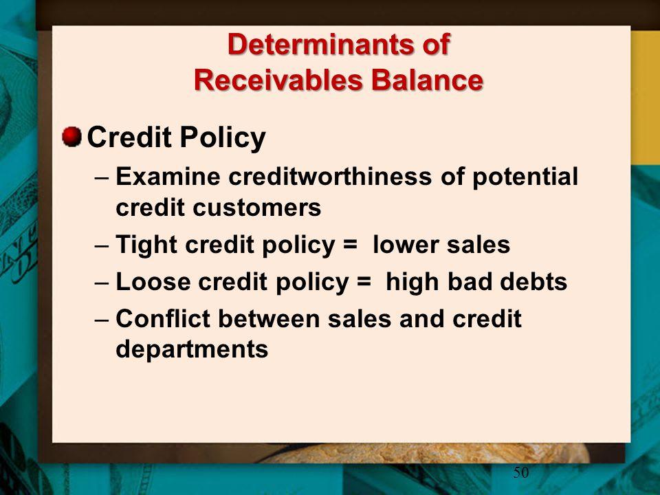 Determinants of Receivables Balance