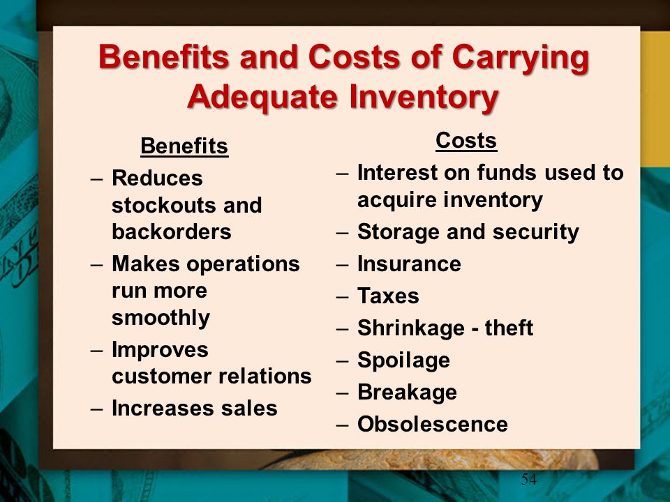 Benefits and Costs of Carrying Adequate Inventory