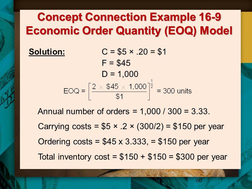 Concept Connection Example 16-9 Economic Order Quantity (EOQ) Model