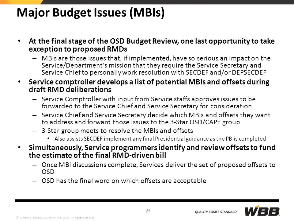 Major Budget Issues (MBIs)