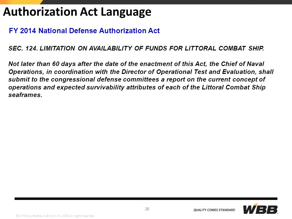 Authorization Act Language