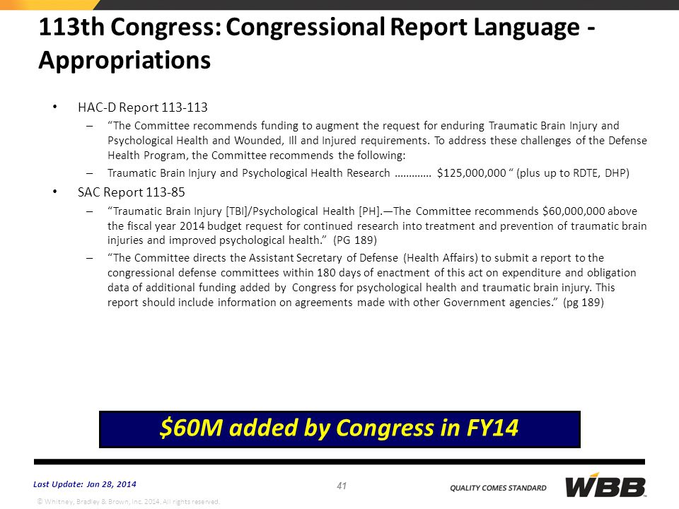 113th Congress: Congressional Report Language - Appropriations