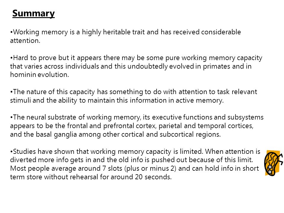 Summary Working memory is a highly heritable trait and has received considerable attention.