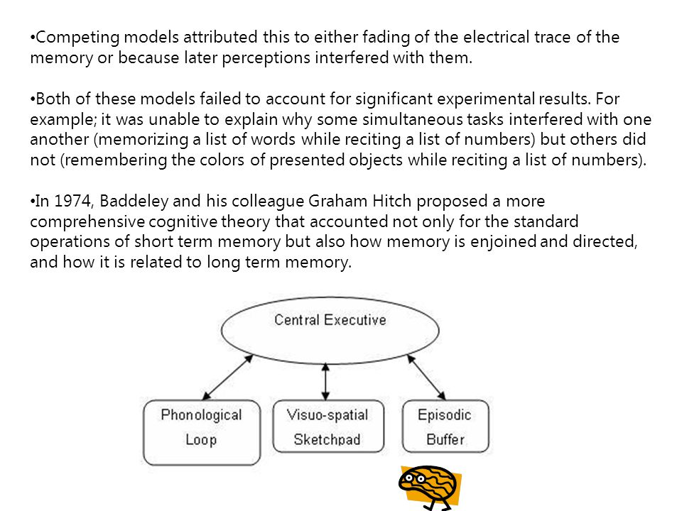 Competing models attributed this to either fading of the electrical trace of the memory or because later perceptions interfered with them.