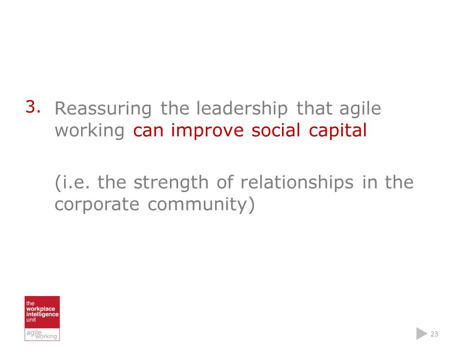 3. Reassuring the leadership that agile working can improve social capital (i.e.