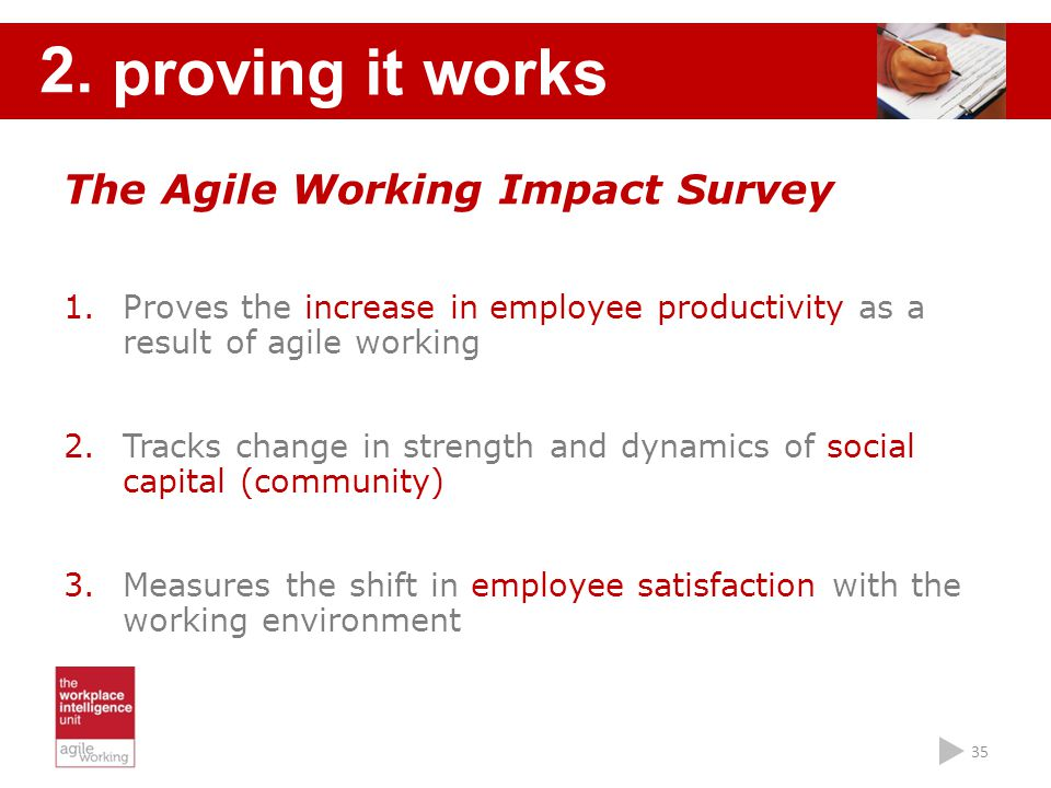 proving it works 2. The Agile Working Impact Survey