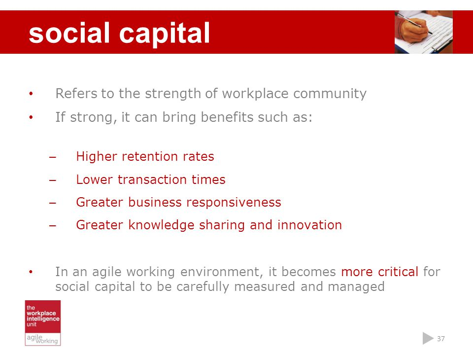 social capital Refers to the strength of workplace community