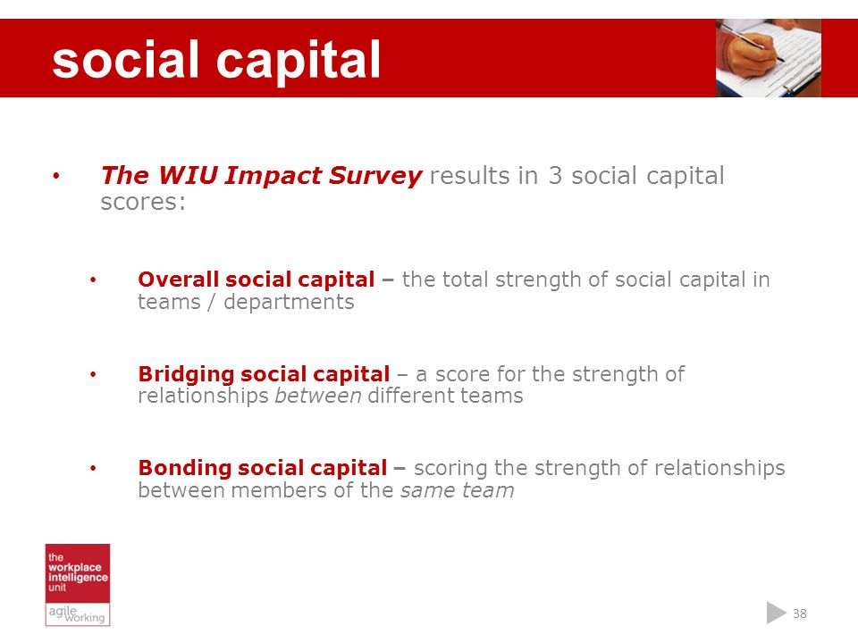 social capital The WIU Impact Survey results in 3 social capital scores: