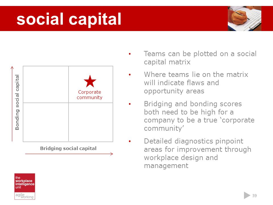 Bonding social capital Bridging social capital