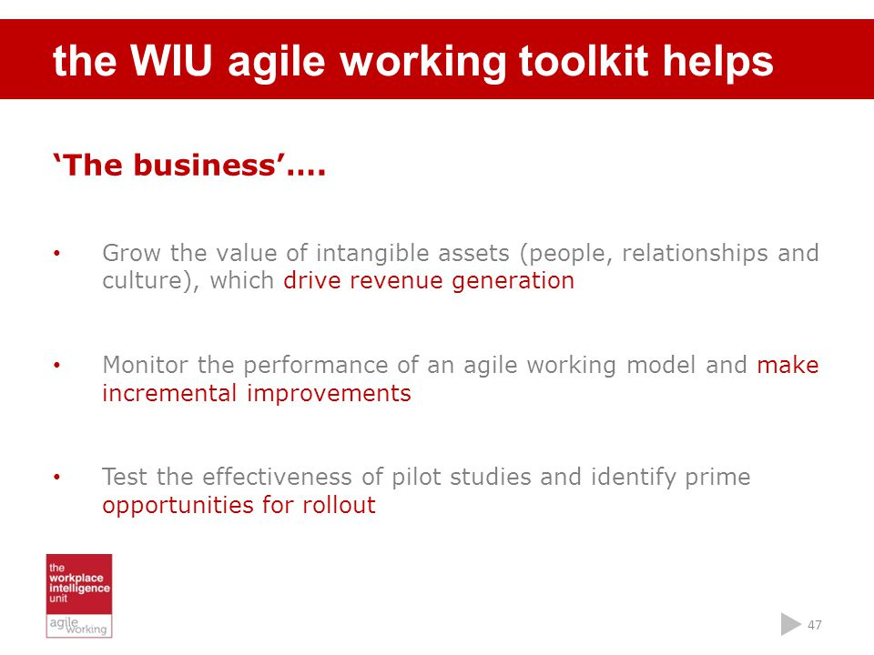 the WIU agile working toolkit helps