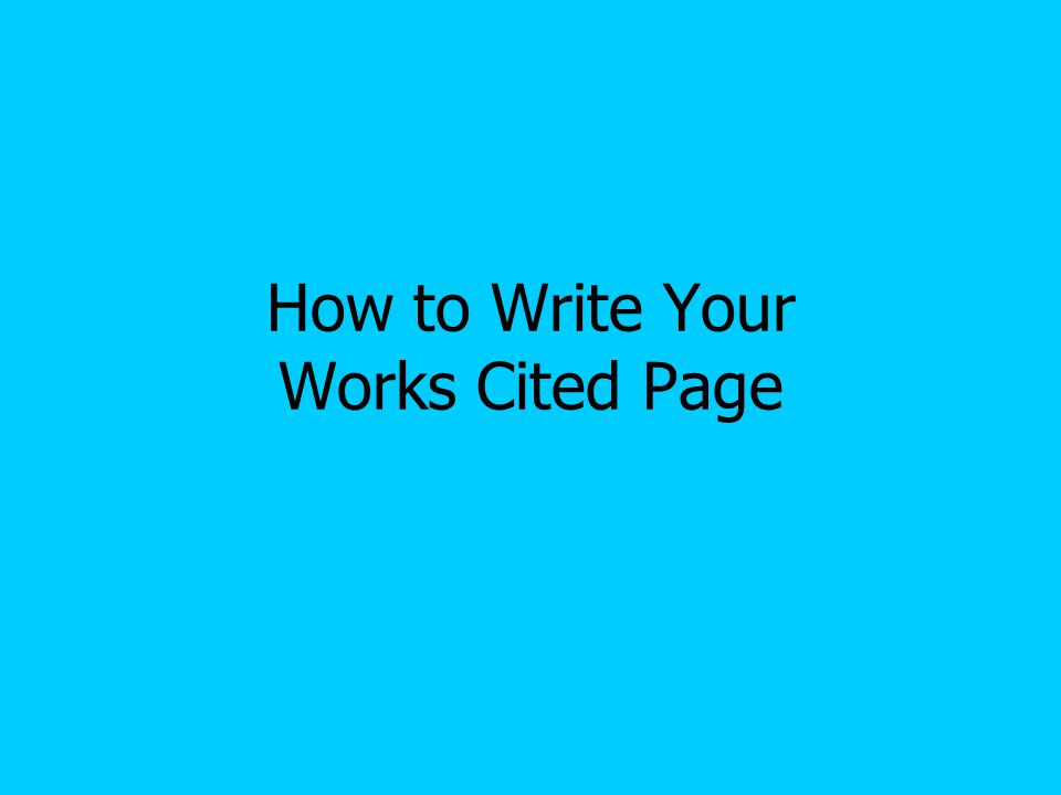 how to write a works cited