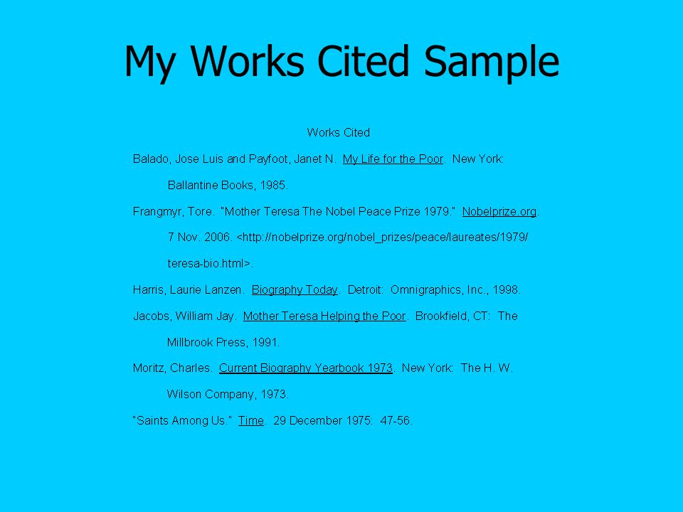 My Works Cited Sample