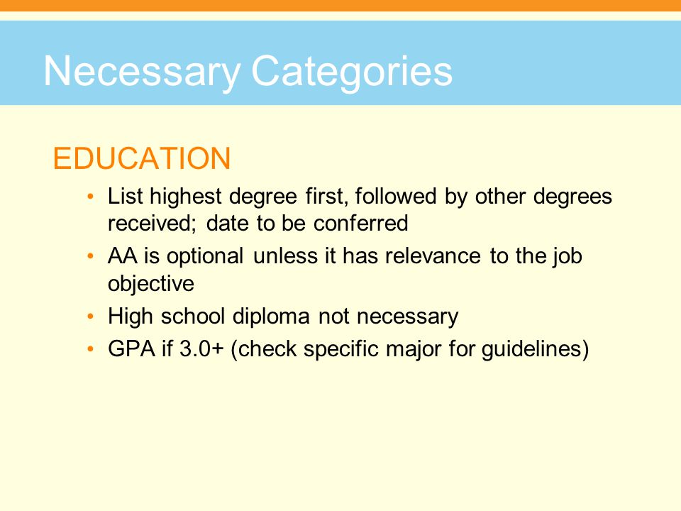 Necessary Categories EDUCATION