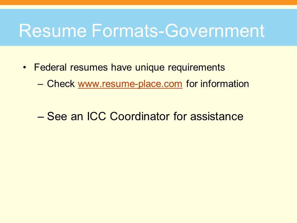 7 resume formats government - Resume Place